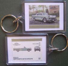 1957 PONTIAC BONNEVILLE Car Stamp Keyring (Auto 100 Automobile)