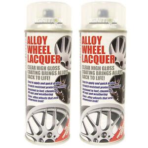 2 x E-Tech Clear Alloy Wheel Lacquer Chip Resistant Wheel Refurbishing 400ml