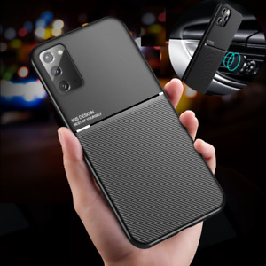For Samsung Galaxy S21+ S20 Note 20 Shockproof Slim Leather Metal Magnetic Case