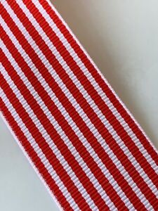 Premium Woven Grosgrain Red White Stripes Ribbon  38mm - sold by the metre