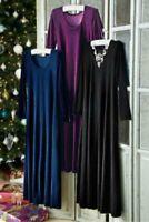 Soft Surroundings women's Santiago black stretch velvet maxi Dress size XS 2-4US