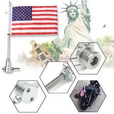 Universal Motorcycle Bike American USA Flag +15'' Flagpole Luggage Rack Mount US