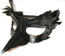 Black Bird Mask Handmade Real Leather Venetian Masquerade black