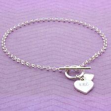 Personalised Hearts T-Bar Bracelet Sterling Silver