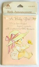 Vintage Birth Announcement Cards - Baby Girl - Day Spring - 8 in Pack