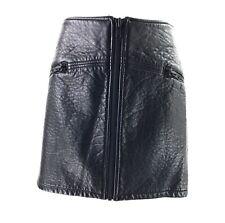 H&M BLACK FAUX LEATHER ZIP DETAIL MINI SKIRT SIZE UK 10 12 11444