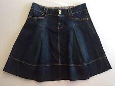 Benetton Short Jean Skirt Pleated Flare Denim Distress Pockets Sz 44 US Sz 8 New