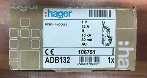Hager RCBO ADB132, 32A, 1 Pole, B type, 32A, 30mA