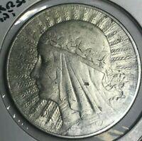 1932 Poland 10 Zlotych - Nice Silver