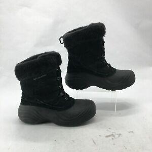 Columbia Sierra Summette Duck Winter Boots Womens 8 Black Suede Faux Fur Lining