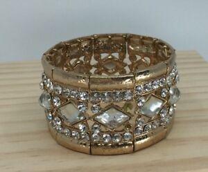 Gold & Crystal Rhinestone Stretch Bracelet Clubbing Wedding Statement