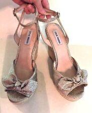 Steve Madden Womens Shoes Gold Glitter Top Rope Twine Like Wedge Heel Size 10