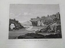 1829 ACQUAFORTE PARBONI NAPOLI AVANZI SCUOLA DI VIRGILIO PUNTA DI POSILLIPO