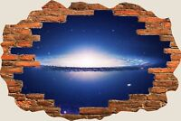 3D Hole in Wall Spiral Galaxy View Wall Stickers Film Decal Wallpaper Mural 860