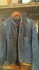 Calvin Klein Denim Jacket Vintgage   Genuine Leather Collar Men's Extra Large