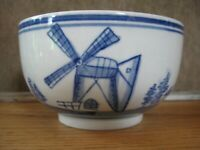 Vintage Delft Flow Blue & White Heavy Small Serving Bowl Windmills Ships Birds