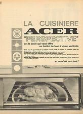 """Publicité 1966  La cuisinière ACER """"perspective"""" avec hublot de four"""