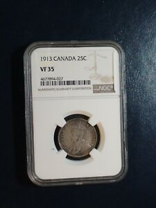 1913 Canada Twenty Five Cents NGC VF35 SILVER 25C Coin PRICED TO SELL!