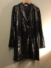 Zara Sequin Black Blazer Dress Mini Wrap Style  Bloggers Size M