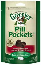 Greenies Dog Tablets Pill Pocket | Hickory Smoke 30 count - Pack of 4