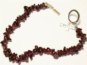 Vintage In Seattle 925 sterling and garnet semi precious gemstone bracelet