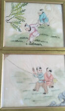 Vintage Oriental Chinese Paintings On Rice Paper Children Playing Kites x 2