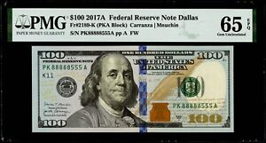 """$100 2017A Federal Reserve Note Dallas  """"Fancy Double Squad Serial #"""" PMG 65 EPQ"""