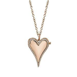 Diamond Locket Heart Necklace 14K Rose Gold Pendant Pave Round Natural 0.13CT