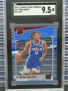 2020-21 Clearly Donruss Tyrese Maxey Rated Rookie RC Red #13/49 SGC 9.5 Y6