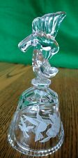 crystal hummingbird bell etched glass sawtooth edge elegant vintage collectible