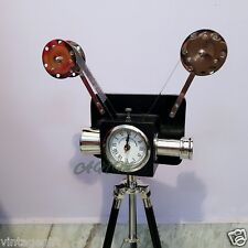 Antique Vintage Style Projector Camera With Clock Wooden Tripod Stand Home Decor