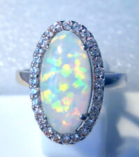 "GORGEOUS WHITE  FIRE OPAL/WHITE TOPAZ   RING UK Size ""V"" US 11.5"