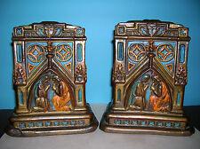 Antique cathredal church architecture bookends Galvano Bronze clad, orig. paint