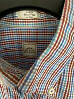 Peter Millar Men's Large Button Down Shirt Long Sleeve Multi Colored Red/Blue