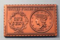 1839 United States Coronet Head Large Cent Numistamp Medal Coin 1978 Mort Reed