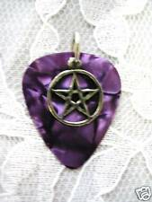 NEW PURPLE GUITAR PICK PEWTER PENTACLE STAR CHARM PENDANT ADJ NECKLACE