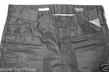 NEW - REPLAY WAITOM BLACK COATED JEANS - 31/32 - SLIM FIT - WIE LEDERHOSE - GAY