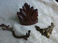 ANCIENS!!!bois ,laiton et cuivre   3piéces  pour déco