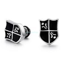 Fashion Stainless Steel Black Shield Cross Boy's Men's Stud Earrings Cool