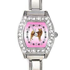Finnish Spitz CZ Ladies Stainless Steel Italian Charms Wrist Watch BJ1033