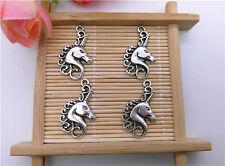 Wholesale 8Pcs Tibet Silver Unicorn Charm Pendant Beaded Jewelry