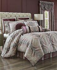J Queen $400 Queen Comforter Bed 4pc Victorian Damask Amethyst quartz mauve Plum
