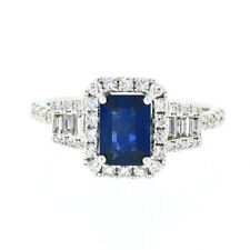 18K White Gold 2.0ctw GIA Emerald Cut Sapphire Solitaire Diamond Engagement Ring