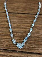 Vintage Blue Rhinestone Necklace. Brillant Shine. Excellent Condition
