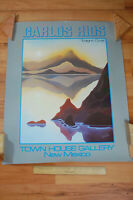 Vintage New Mexico Twilight Cove Sunset Mountain Poster Carlos Rios Rare 1982