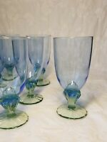 "7 Bormioli Rocco Bahia Ice Tea Glasses Blue With Green Stem Water Goblet 7 3/8"""