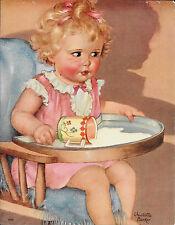 Charlotte Becker, Baby Girl, High Chair, Salesman Sample Calendar Print Vintage