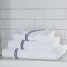 Frette Hotel Classic Bath Sheet White/Navy - Set of 2