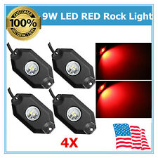 4Pcs RED Color LED Rock Light 9W Lighting Truck Vehicle Chevy Boat Ford Lamp NEW