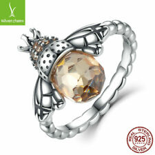 European Women Authentic 925 Sterling Silver Littie Bee CZ Finger Ring Size 6-8
